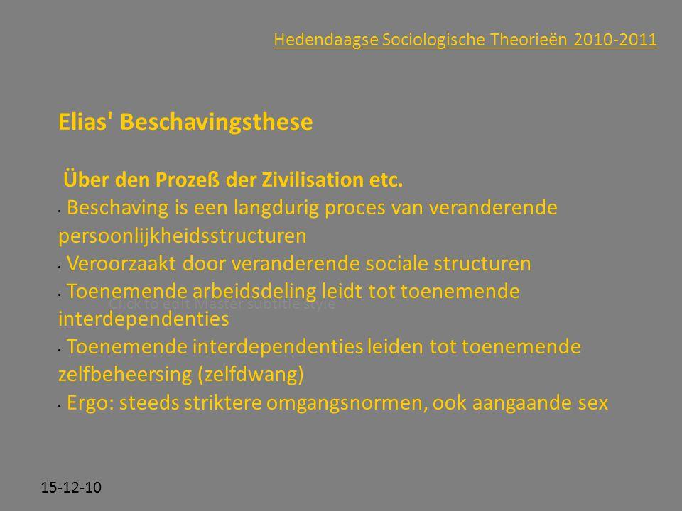 Click to edit Master subtitle style 15-12-10 Hedendaagse Sociologische Theorieën 2010-2011 Elias' Beschavingsthese Über den Prozeß der Zivilisation et