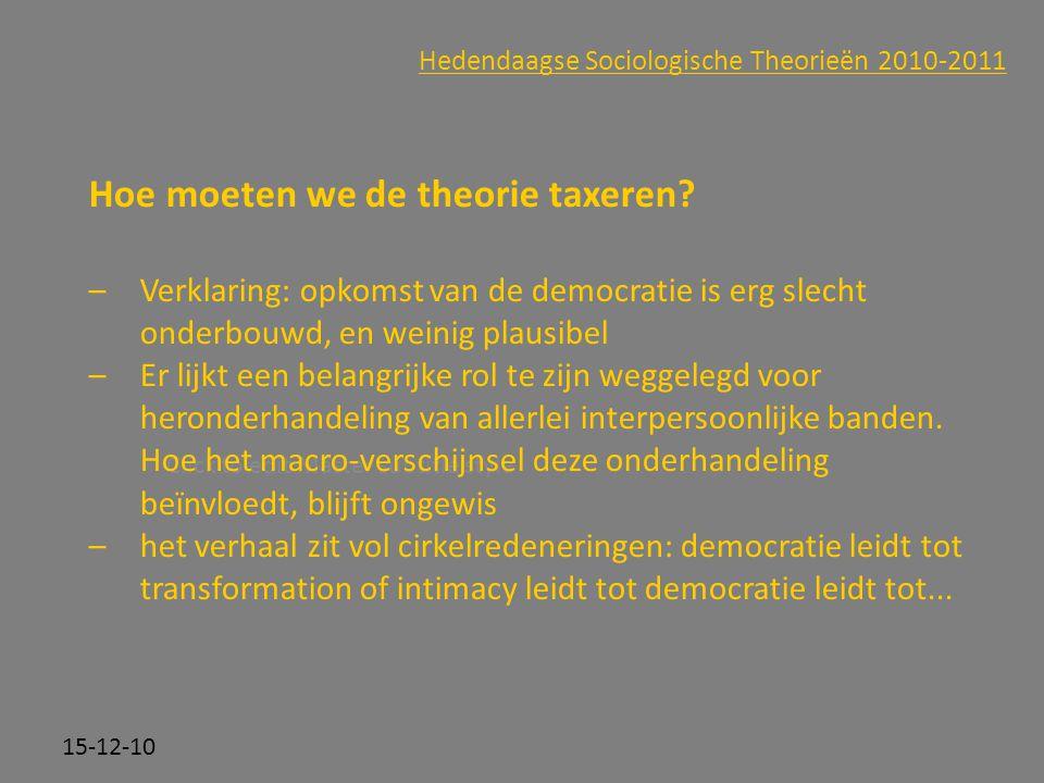 Click to edit Master subtitle style 15-12-10 Hedendaagse Sociologische Theorieën 2010-2011 Hoe moeten we de theorie taxeren? –Verklaring: opkomst van