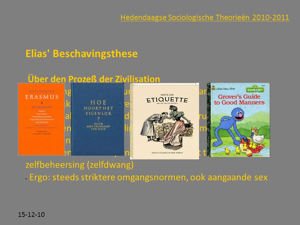 Click to edit Master subtitle style 15-12-10 Hedendaagse Sociologische Theorieën 2010-2011 Elias' Beschavingsthese Über den Prozeß der Zivilisation Be