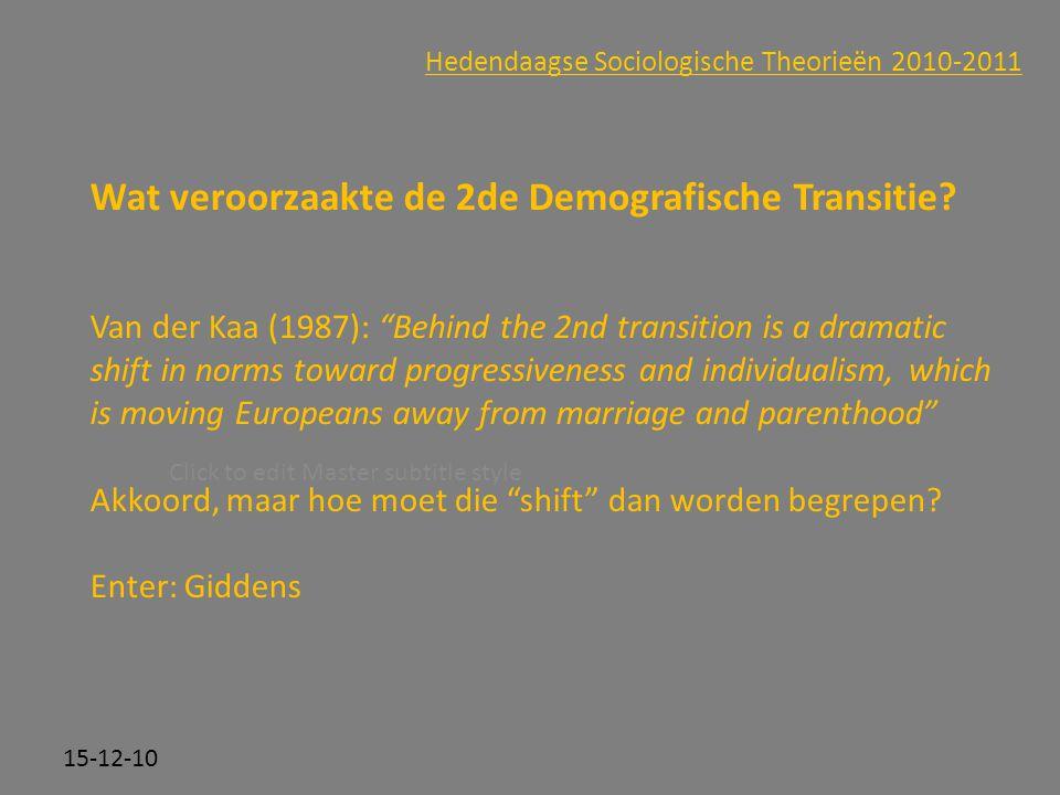 Click to edit Master subtitle style 15-12-10 Hedendaagse Sociologische Theorieën 2010-2011 Wat veroorzaakte de 2de Demografische Transitie? Van der Ka