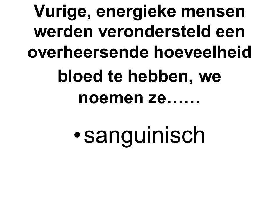 Vurige, energieke mensen werden verondersteld een overheersende hoeveelheid bloed te hebben, we noemen ze…… sanguinisch