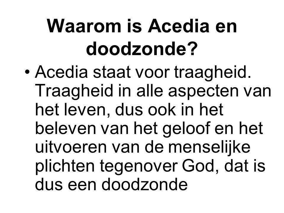 Waarom is Acedia en doodzonde? Acedia staat voor traagheid. Traagheid in alle aspecten van het leven, dus ook in het beleven van het geloof en het uit