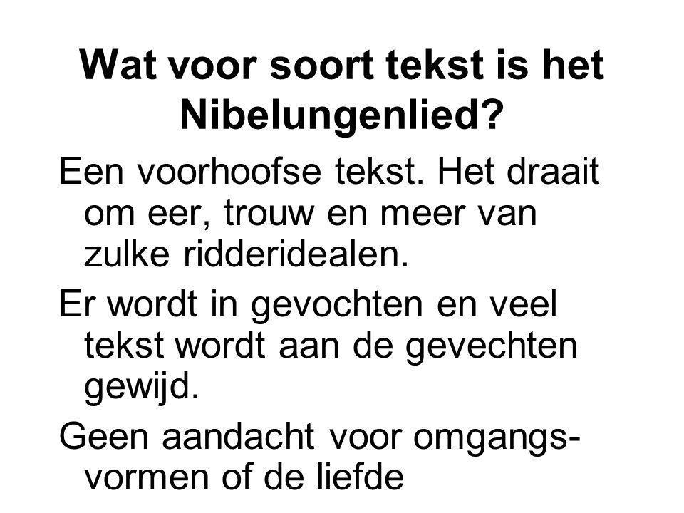 Wat voor soort tekst is het Nibelungenlied? Een voorhoofse tekst. Het draait om eer, trouw en meer van zulke ridderidealen. Er wordt in gevochten en v