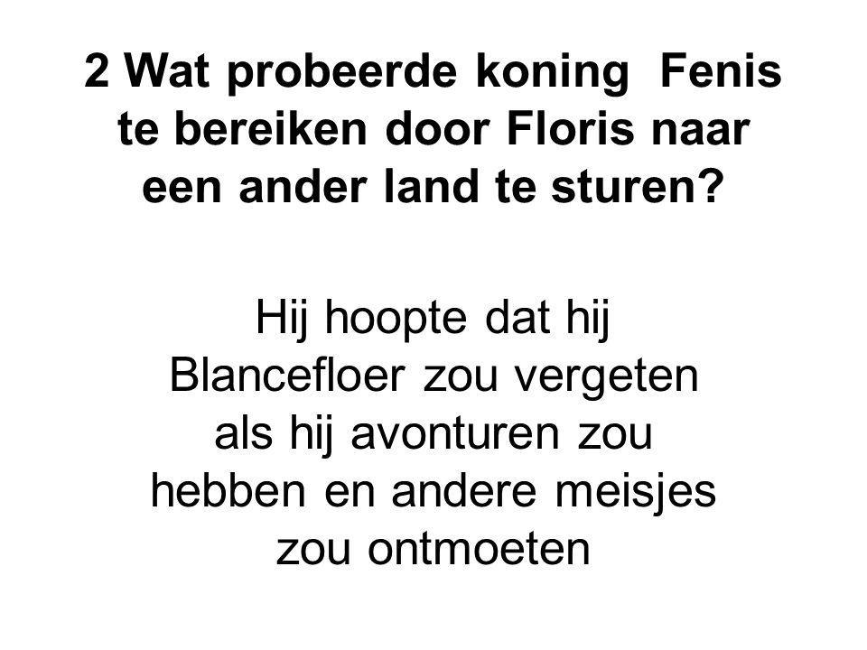 2 Wat probeerde koning Fenis te bereiken door Floris naar een ander land te sturen? Hij hoopte dat hij Blancefloer zou vergeten als hij avonturen zou