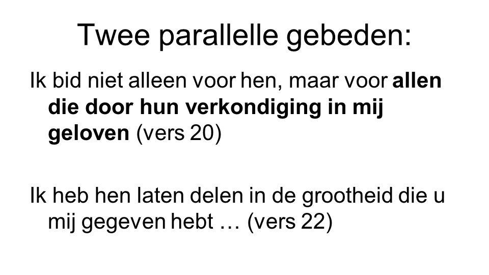 Twee parallelle gebeden: Ik bid niet alleen voor hen, maar voor allen die door hun verkondiging in mij geloven (vers 20) Ik heb hen laten delen in de