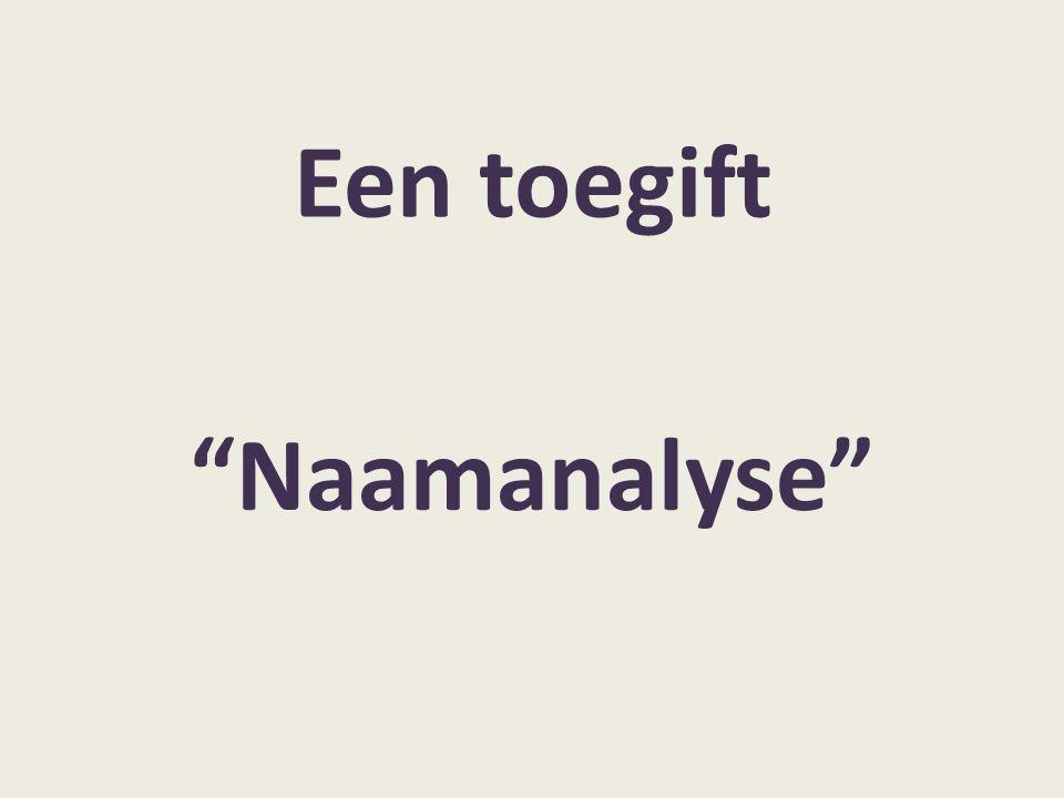 """Een toegift """"Naamanalyse"""""""