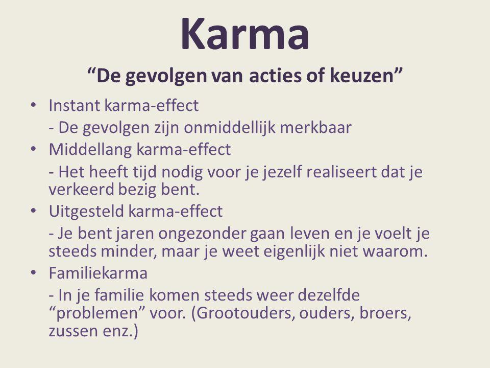 """Karma """"De gevolgen van acties of keuzen"""" Instant karma-effect - De gevolgen zijn onmiddellijk merkbaar Middellang karma-effect - Het heeft tijd nodig"""