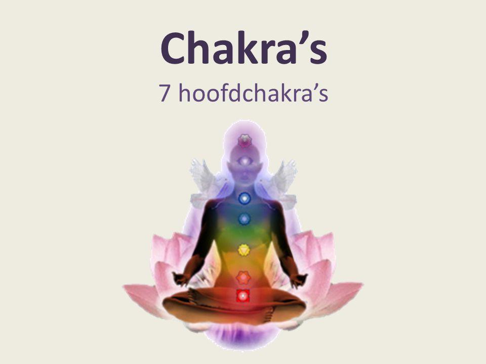 Kruin; Zetel van het hoogste bewustzijn Voorhoofd; Integratie van het geestelijke bewustzijn in de persoonlijkheid van de mens Keel; spreken en handelen vanuit ons innerlijk ten opzichte van de omgeving Hart; het liefdesvermogen en de verdere gevoelswereld Solar Plexus; beleving en vormgeving van gevoelens en gedachten binnen de persoonlijkheid Sacraal; scheppende energieën (seksualiteit) Basis; uitdrukking geven aan ons gehele bewustzijn via onze persoonlijkheid