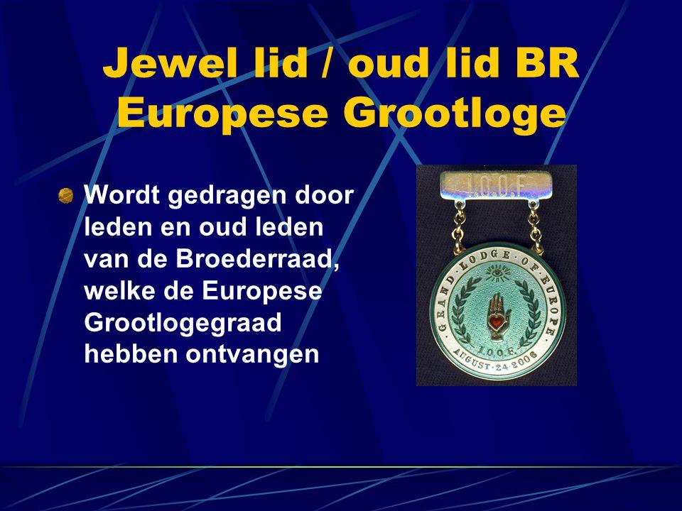 Jewel lid / oud lid BR Europese Grootloge Wordt gedragen door leden en oud leden van de Broederraad, welke de Europese Grootlogegraad hebben ontvangen