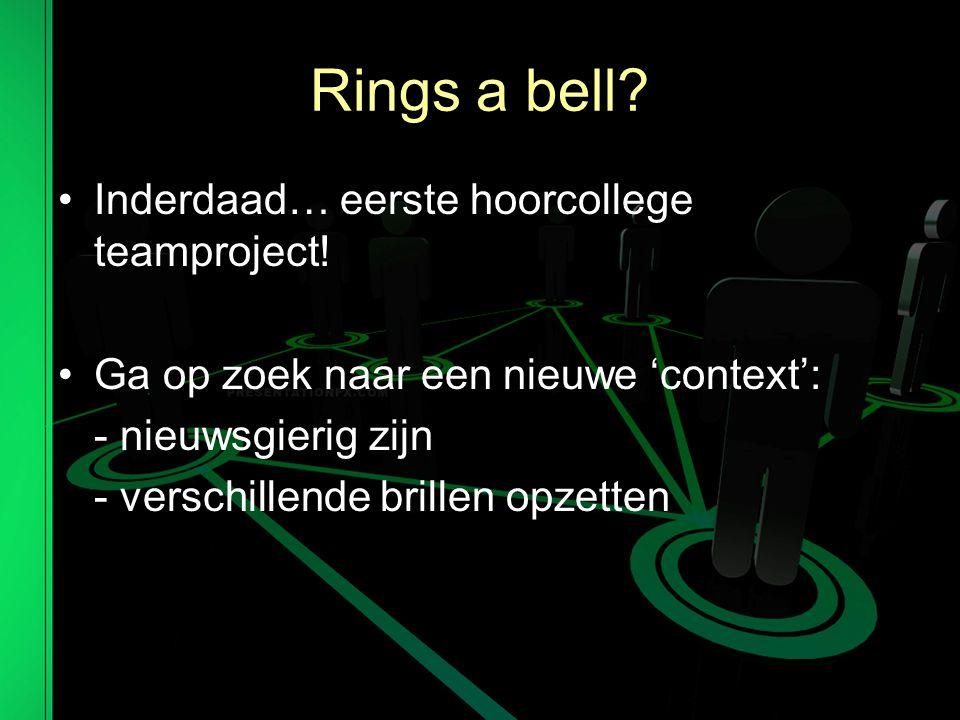 Rings a bell.Inderdaad… eerste hoorcollege teamproject.