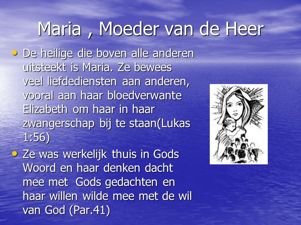 Maria, Moeder van de Heer De heilige die boven alle anderen uitsteekt is Maria.