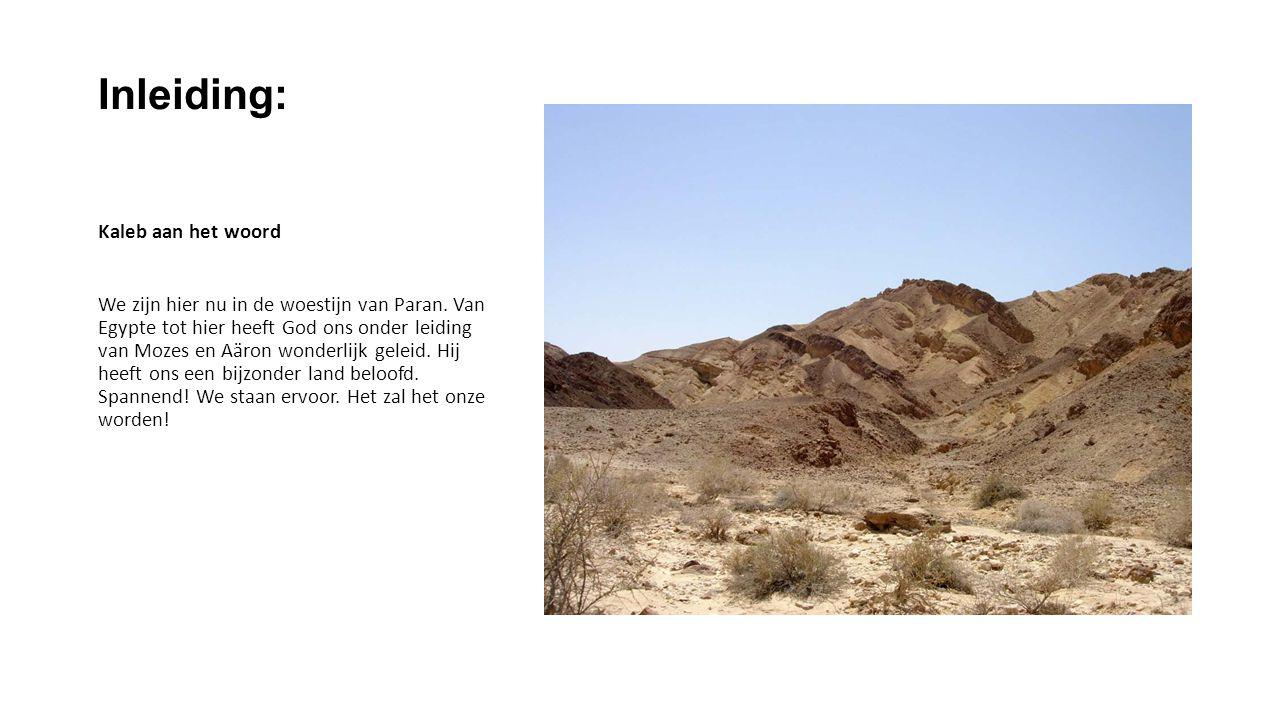 Inleiding: Kaleb aan het woord We zijn hier nu in de woestijn van Paran.
