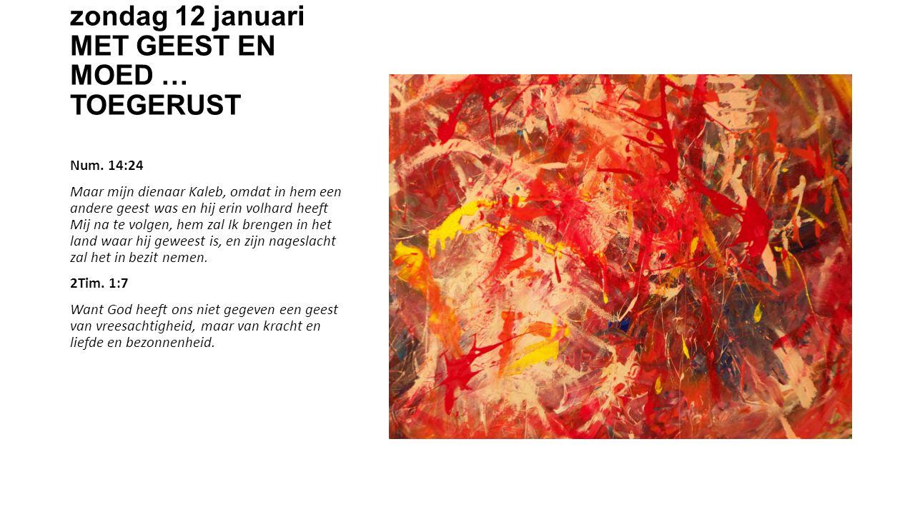 zondag 12 januari MET GEEST EN MOED … TOEGERUST Num.