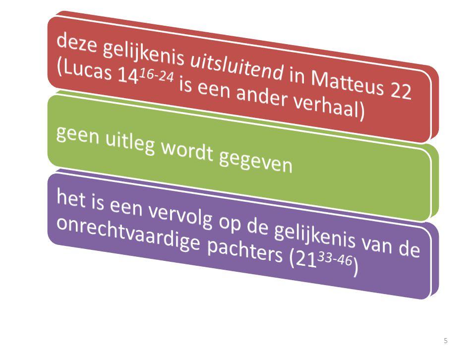 1 En Jezus antwoordde en sprak wederom in gelijkenissen tot hen en zeide: Matteus 22 6