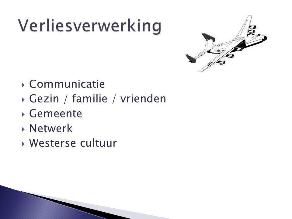  Communicatie  Gezin / familie / vrienden  Gemeente  Netwerk  Westerse cultuur