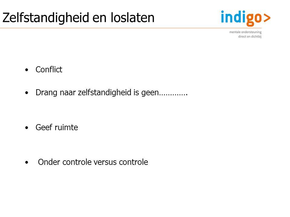 Conflict Drang naar zelfstandigheid is geen…………. Geef ruimte Onder controle versus controle Zelfstandigheid en loslaten