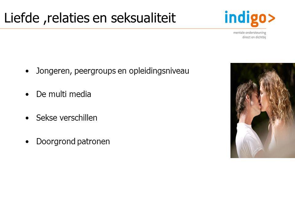 Jongeren, peergroups en opleidingsniveau De multi media Sekse verschillen Doorgrond patronen Liefde,relaties en seksualiteit