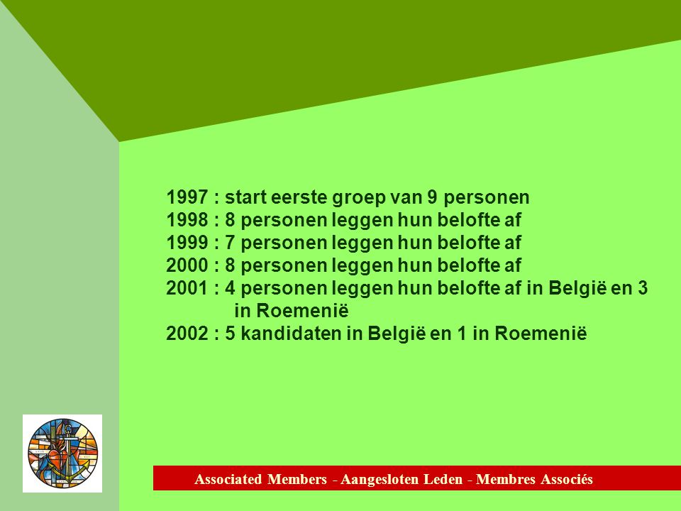 Associated Members - Aangesloten Leden - Membres Associés 1997 : start eerste groep van 9 personen 1998 : 8 personen leggen hun belofte af 1999 : 7 personen leggen hun belofte af 2000 : 8 personen leggen hun belofte af 2001 : 4 personen leggen hun belofte af in België en 3 in Roemenië 2002 : 5 kandidaten in België en 1 in Roemenië