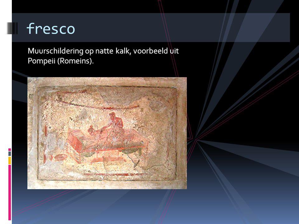 Muurschildering op natte kalk, voorbeeld uit Pompeii (Romeins). fresco