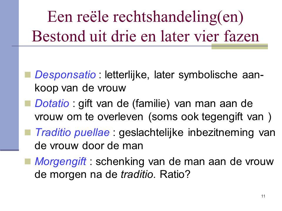 11 Een reële rechtshandeling(en) Bestond uit drie en later vier fazen Desponsatio : letterlijke, later symbolische aan- koop van de vrouw Dotatio : gi