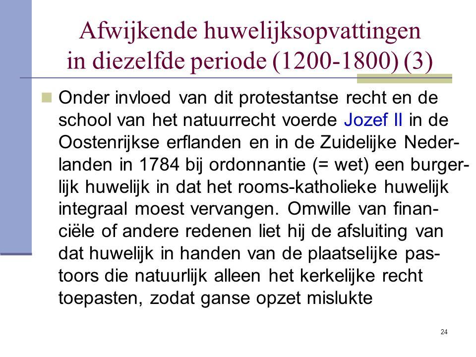 24 Afwijkende huwelijksopvattingen in diezelfde periode (1200-1800) (3) Onder invloed van dit protestantse recht en de school van het natuurrecht voer