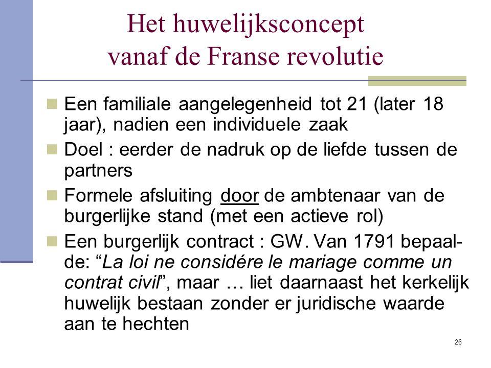 26 Het huwelijksconcept vanaf de Franse revolutie Een familiale aangelegenheid tot 21 (later 18 jaar), nadien een individuele zaak Doel : eerder de na