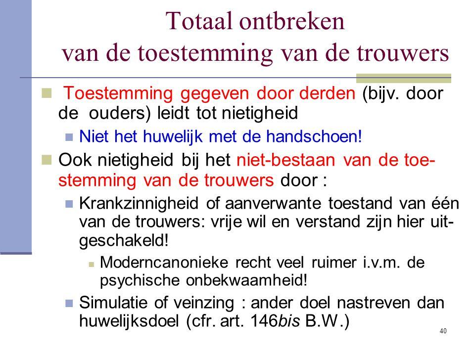 40 Totaal ontbreken van de toestemming van de trouwers Toestemming gegeven door derden (bijv. door de ouders) leidt tot nietigheid Niet het huwelijk m