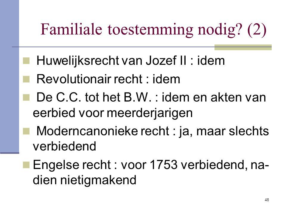 48 Familiale toestemming nodig? (2) Huwelijksrecht van Jozef II : idem Revolutionair recht : idem De C.C. tot het B.W. : idem en akten van eerbied voo