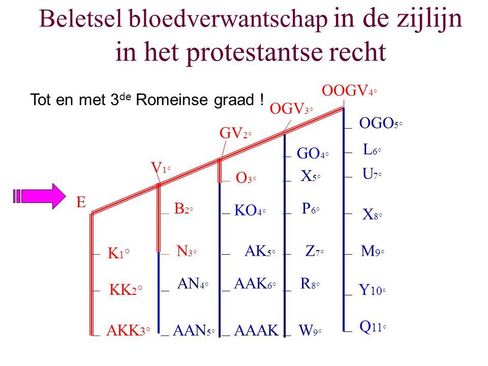 Beletsel bloedverwantschap in de zijlijn in het protestantse recht E K1°K1° KK 2 ° AKK 3° V 1° GV 2° OGV 3° OOGV 4° B 2° N 3° AN 4° AAN 5° O 3° KO 4°