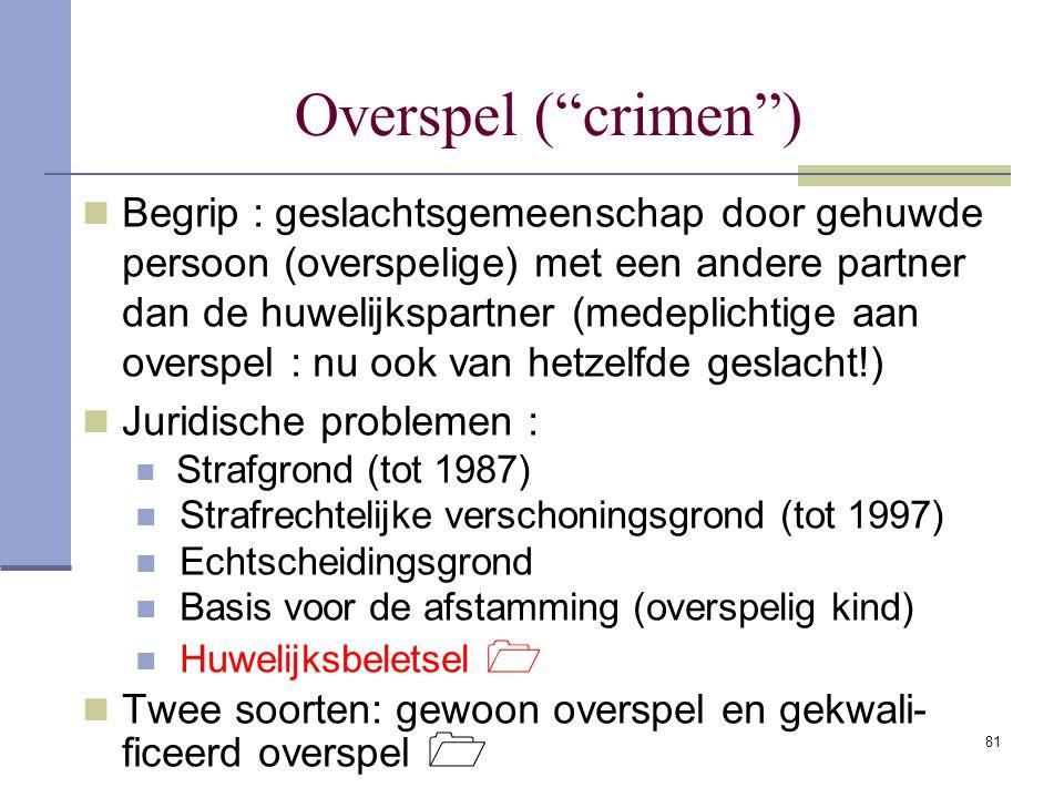 """81 Overspel (""""crimen"""") Begrip : geslachtsgemeenschap door gehuwde persoon (overspelige) met een andere partner dan de huwelijkspartner (medeplichtige"""