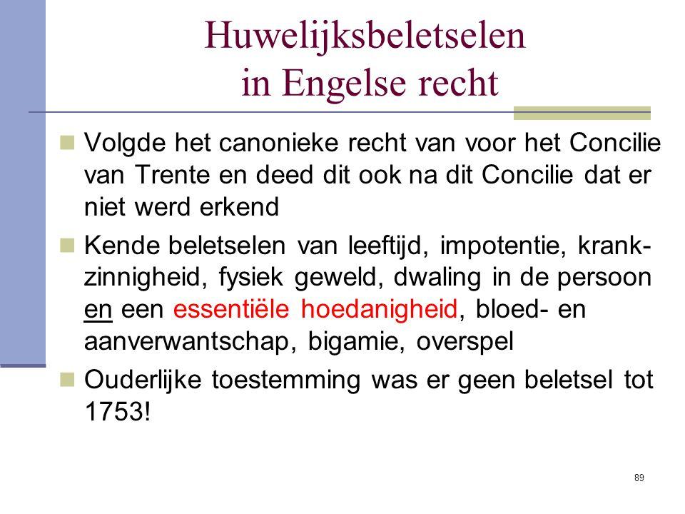 89 Huwelijksbeletselen in Engelse recht Volgde het canonieke recht van voor het Concilie van Trente en deed dit ook na dit Concilie dat er niet werd e