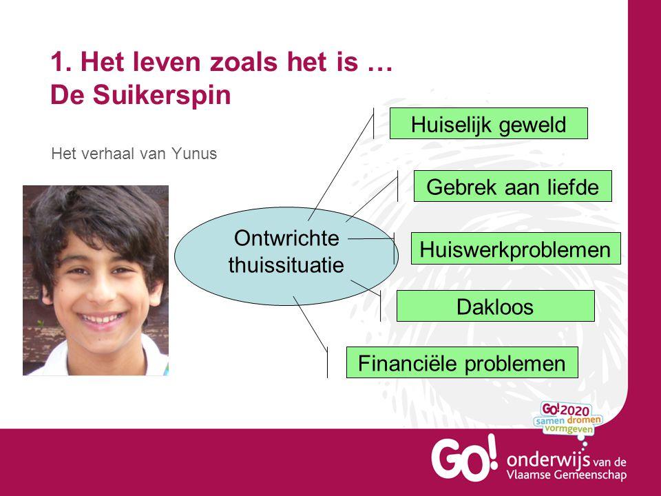 1. Het leven zoals het is … De Suikerspin Het verhaal van Yunus Ontwrichte thuissituatie Huiselijk geweld Gebrek aan liefde Huiswerkproblemen Dakloos