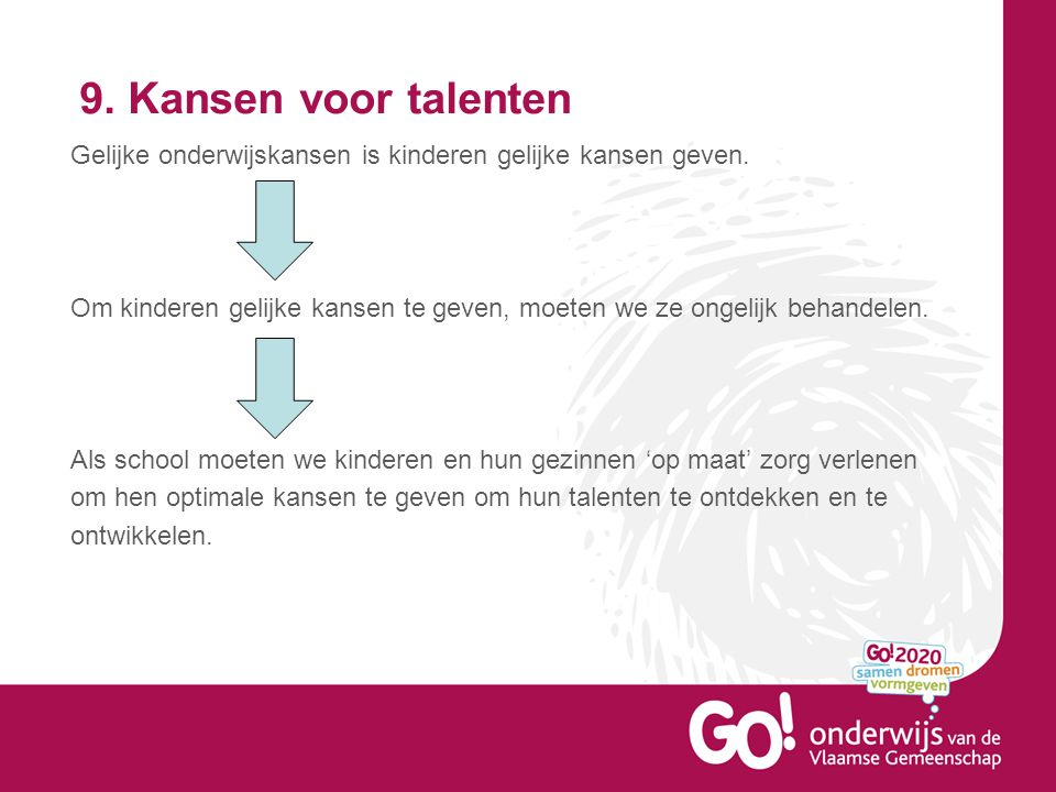 9.Kansen voor talenten Gelijke onderwijskansen is kinderen gelijke kansen geven.