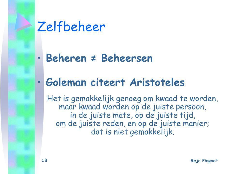 Beja Pingnet 18 Zelfbeheer Beheren ≠ Beheersen Goleman citeert Aristoteles Het is gemakkelijk genoeg om kwaad te worden, maar kwaad worden op de juist