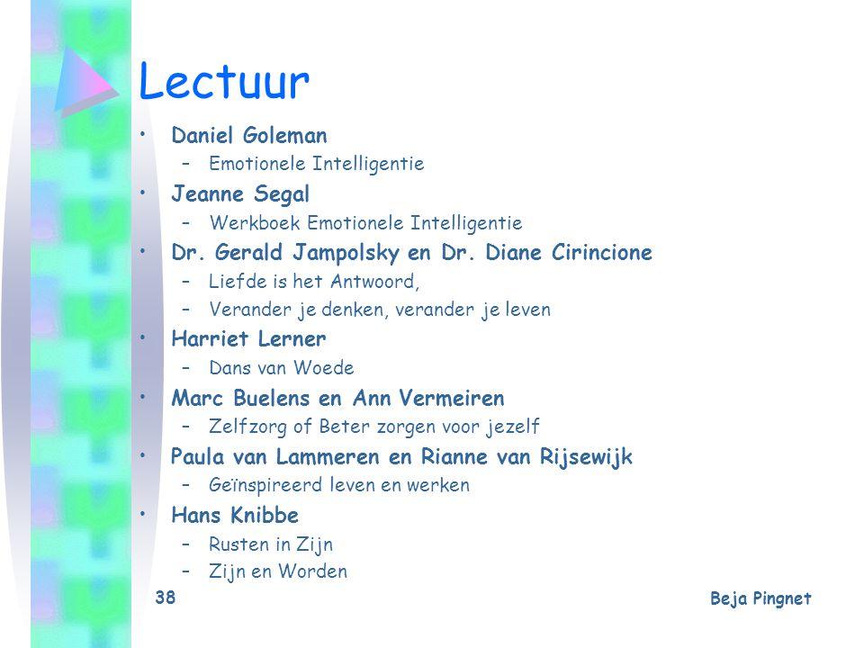 Beja Pingnet 38 Lectuur Daniel Goleman –Emotionele Intelligentie Jeanne Segal –Werkboek Emotionele Intelligentie Dr. Gerald Jampolsky en Dr. Diane Cir