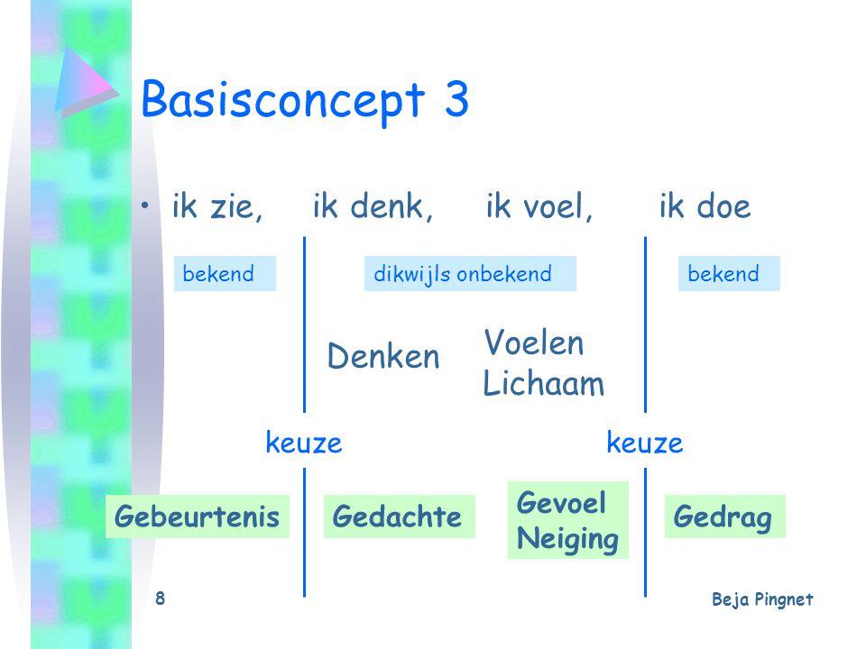 Beja Pingnet 8 Basisconcept 3 ik zie, ik denk, ik voel, ik doe dikwijls onbekendbekend GebeurtenisGedachte Gevoel Neiging Gedrag Denken Voelen Lichaam