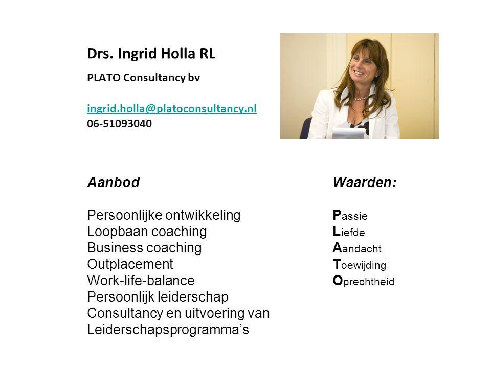 Drs. Ingrid Holla RL PLATO Consultancy bv ingrid.holla@platoconsultancy.nl 06-51093040 ingrid.holla@platoconsultancy.nl Aanbod Waarden: Persoonlijke o