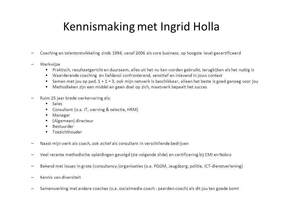 Kennismaking met Ingrid Holla –Coaching en talentontwikkeling sinds 1994, vanaf 2006 als core business, op hoogste level gecertificeerd –Werkwijze Pra