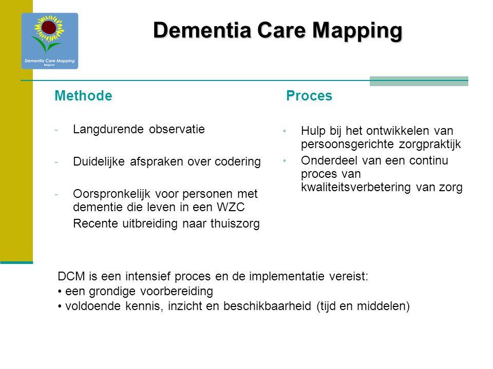Methode - Langdurende observatie - Duidelijke afspraken over codering - Oorspronkelijk voor personen met dementie die leven in een WZC Recente uitbrei