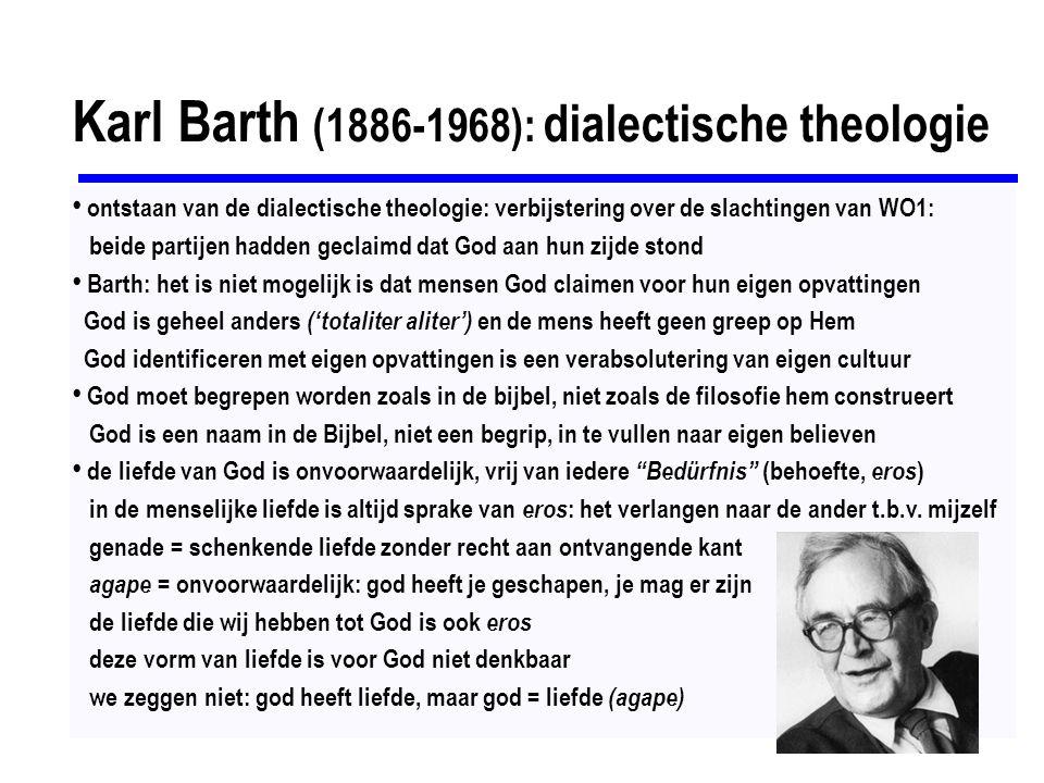 Schleiermacher (1768-1834): ervaringstheologie geloven is geen weten of doen, maar intuïtie en gevoel onmiddellijk bewustzijn van totale afhankelijkheid van God is het meest fundamentele kenmerk van ons bestaan geloof staat geheel los van metafysica en rationaliteit hermeneutiek kan de innerlijke bedoeling reconstrueren interpretatie is reconstructie: creatieve herschepping ----------------------------------------- religiositeit, filosofie & het godsbegrip: onto-theologie = metafysica, vraagt naar het bestaan van God positieve (katafatische) theologie = aanwezige, persoonlijke God, antropomorf, God beschrijven en bewijzen negatieve (apofatische) theologie = onpersoonlijk, mystiek, God slechts beschrijven in termen wat hij niet is Angelus Silesius (1624-1677)