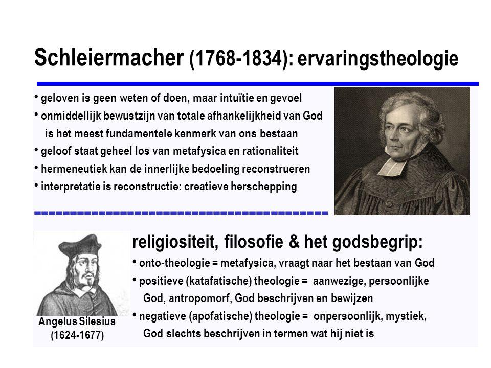 Meister Eckhart (1260-1327): mystiek intellect en verstand zijn geen instrument om tot het ervaren van God te komen Boven het verstand dat zoekt, is nog een verstand, dat niet meer zoekt er kan niet gesproken worden over het Zijn van God: hij is een zijn en niet-zijn, dat uitstijgt boven het zijn niet-kennen = loslaten van alle beelden & kennis, loslaten van je zelf & loslaten van de denk- en doestructuren, gelatenheid, berusting: de gelaten mens is zoon van God zelfontlediging = ruimte voor God maken in de ziel om Hem geboren te laten worden verschil tussen God en Godheid: Godheid = eindeloos, onmetelijk en onbegrijpelijk de Afgrond van het Niets, het verborgen duister dat onbekend is en nooit bekend wordt hoogste kennis is niet meer dan benadering en uiteindelijk niet helemaal juist en waar, alleen daardoor kan het éénworden zich steeds opnieuw voltrekken: in het niet-kennende kennen wordt de kennis van God een gebeuren van het moment