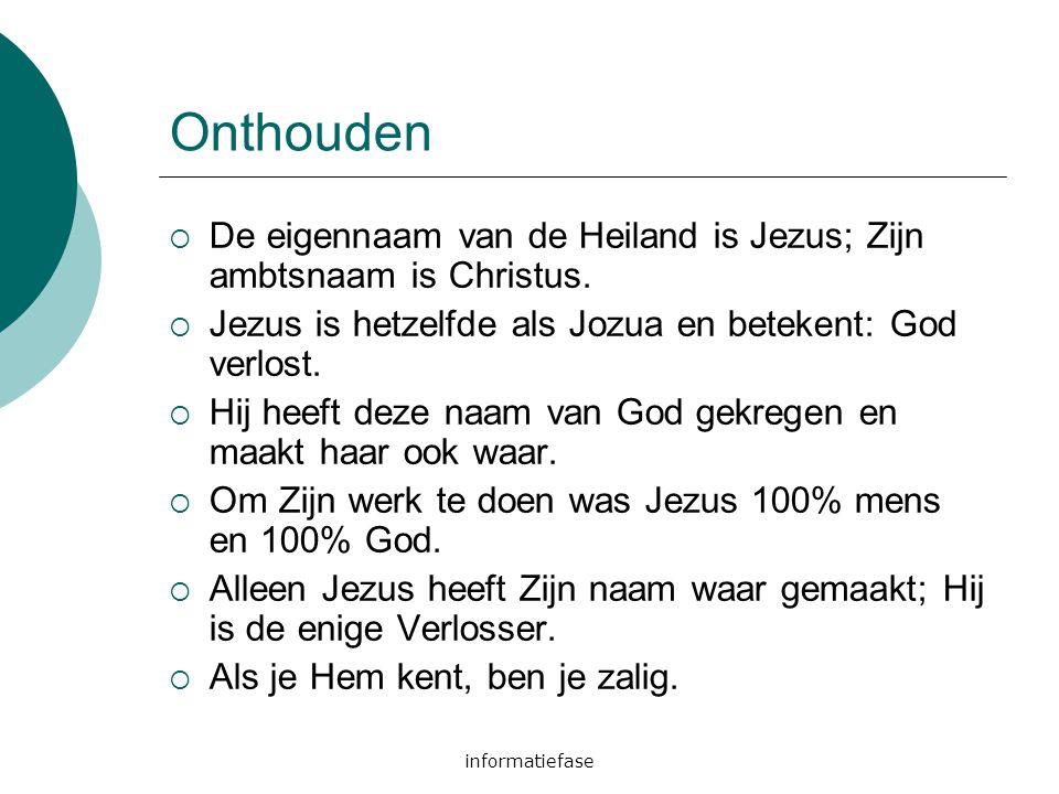 informatiefase Onthouden  De eigennaam van de Heiland is Jezus; Zijn ambtsnaam is Christus.  Jezus is hetzelfde als Jozua en betekent: God verlost.