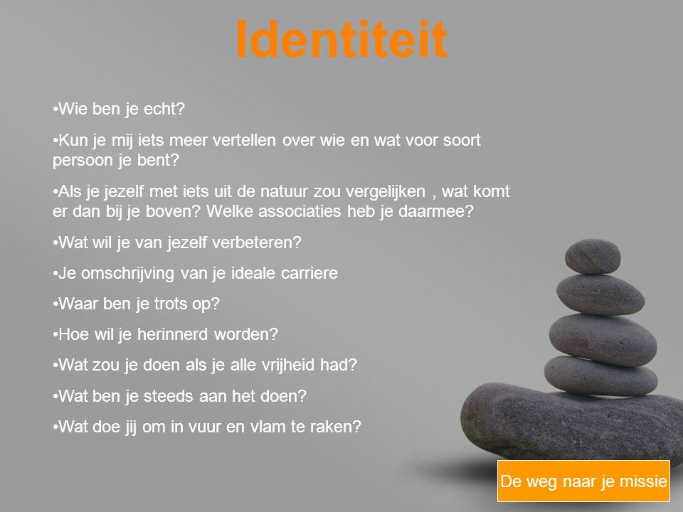 your name Identiteit De weg naar je missie Wie ben je echt.