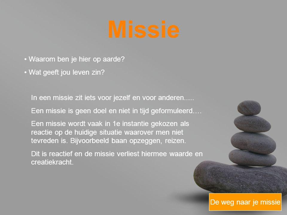 your name Missie De weg naar je missie Zorg dat je een missie formuleert die voorbij een tijdelijke ontevredenheid ligt
