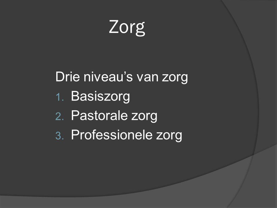 Zorg Drie niveau's van zorg 1. Basiszorg 2. Pastorale zorg 3. Professionele zorg