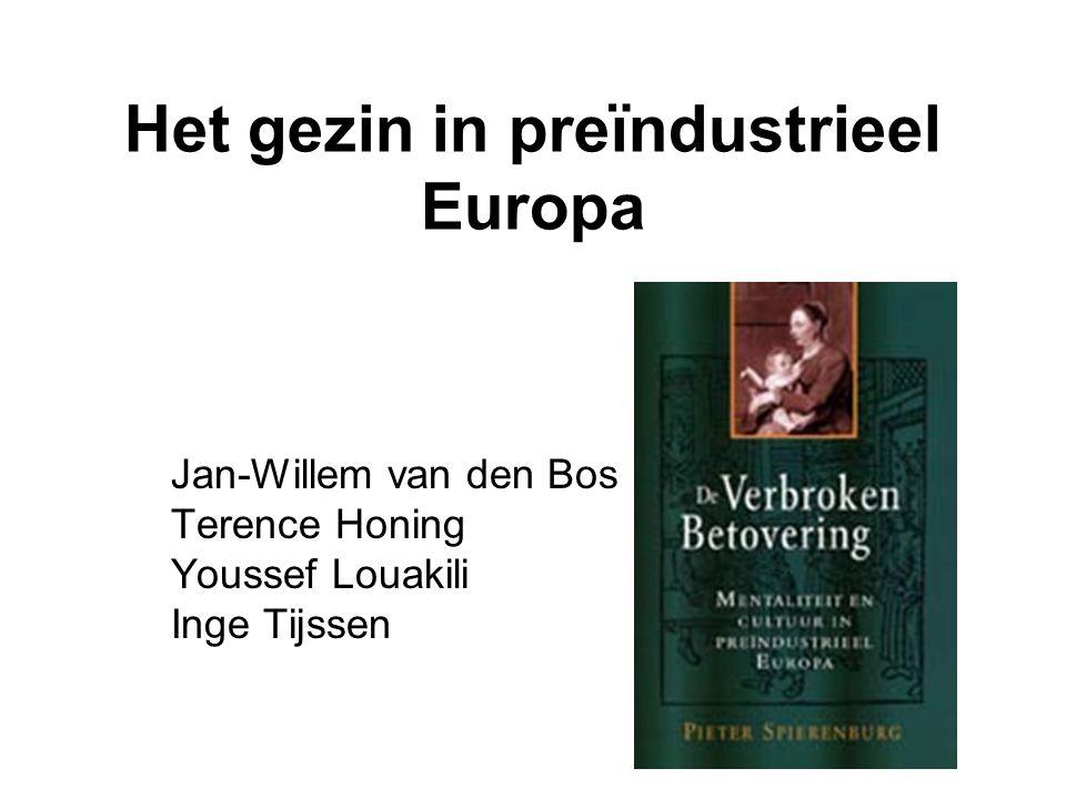 Het gezin in preïndustrieel Europa Jan-Willem van den Bos Terence Honing Youssef Louakili Inge Tijssen