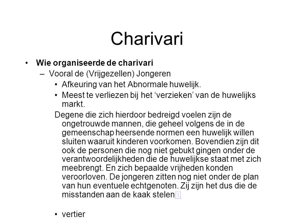 Charivari Wie organiseerde de charivari –Vooral de (Vrijgezellen) Jongeren Afkeuring van het Abnormale huwelijk.