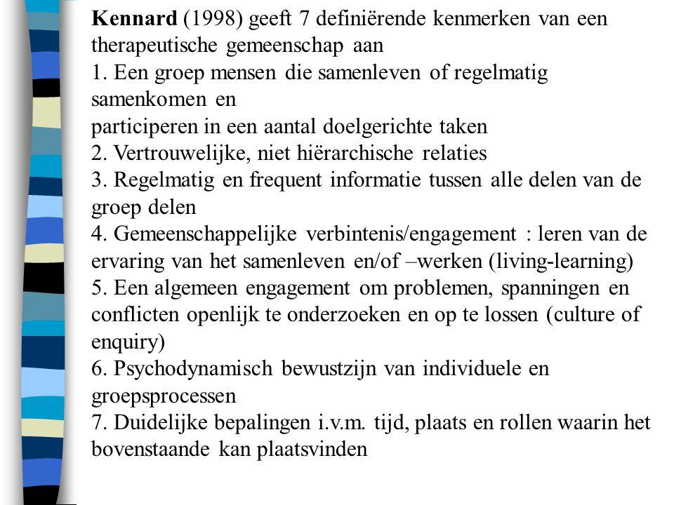 Kennard (1998) geeft 7 definiërende kenmerken van een therapeutische gemeenschap aan 1. Een groep mensen die samenleven of regelmatig samenkomen en pa