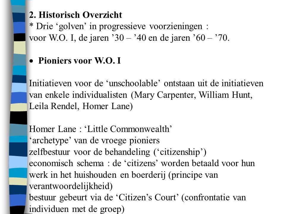 2. Historisch Overzicht * Drie 'golven' in progressieve voorzieningen : voor W.O. I, de jaren '30 – '40 en de jaren '60 – '70.  Pioniers voor W.O.
