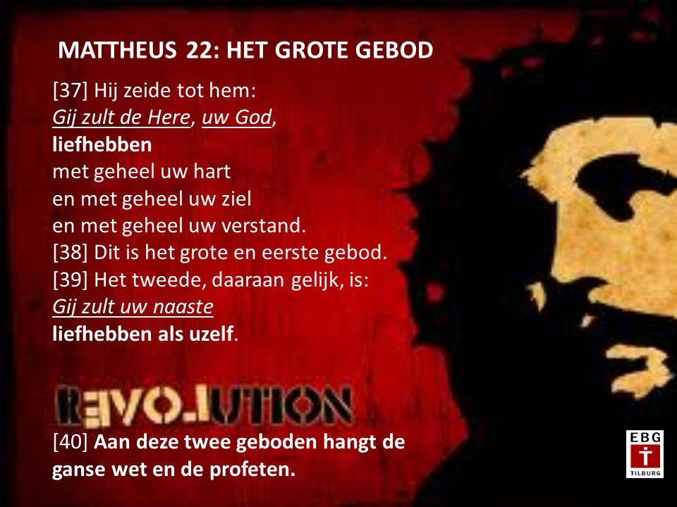 [37] Hij zeide tot hem: Gij zult de Here, uw God, liefhebben met geheel uw hart en met geheel uw ziel en met geheel uw verstand.
